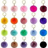 BQTQ 20 Pieces Pom Poms Keychain Pom Poms Fluffy Balls Rabbit Faux Fur Pom Pom