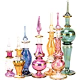NileCart Egyptian Perfume Bottles Wholesale Mix Collection Set of 12 Hand Blown Decorative Pyrex Glass 2-5 in with Handmade G