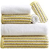 Great Bay Home 6-Piece Towel Set. 100% Cotton Multi-Striped Bathroom Towels. Quick Dry and Absorbent Towels. Set Includes 2 B