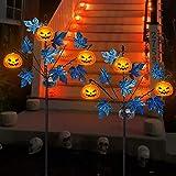 Brwoynn 30 Inches Solar Halloween Yard Decorations, Outdoor LED Solar Powered Pumpkin Halloween Pathway Lights, Metal Garden
