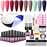 COSCELIA Gel Nail Polish Kit with 36w Nail Lamp 10 fall Colors Soak Off Gel Nail Set Base Top Coat Manicure Tools Set