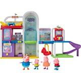 Peppa Pig Shopping Mall with Family, Includes 1 Connectable Mall Playset, 4 Character Toy Figures, 2 Chairs, 1 Pizza Table, 1