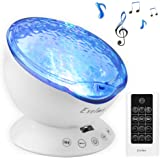Exelme Night Light Projector Ocean Wave - Sound Machine with Soothing Nature Noise and Relaxing Light Show - Color Changing W