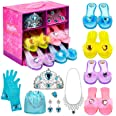 Princess Dress Up Shoes Set Girls Role Play Shoes Pretend Jewelry Toys Set Gift Set 4 Pairs of Shoes Kit Collection of Tiara