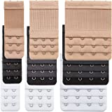 9 Pieces Bra Extender Bra Strap Extension Women's Elastic Extenders, 3 Colors (3 Rows x 2 Hooks, 3 Rows x 3 Hooks, 3 Rows x 4