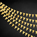 40 Ft Gold Triangle Flags Banner Double Sided Metallic Paper Pennant Bunting Garland for Wedding Baby Bridal Shower Birthday