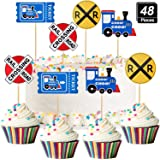 48 Pieces Railroad Party Crossing Decoration Railroad Train Crossing Cupcake Toppers Steam Train Cupcake Picks for Birthday P