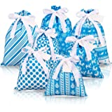 Whaline 7pcs Christmas Fabric Gift Bags Drawstring Bag Cotton Storage Sack with 7 Tags Blue Present Bags Goodie Treat Bags Fa