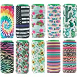 HaiMay 10 Pieces Slim Beer Can Sleeves Beer Can Cooler Covers Fit for 12oz Slim Energy Drink Beer Cans, 10 Styles