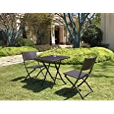 DECMICO Folding Bistro Set Patio Wicker Chair and Table Lightweight and No Assembly Required, Dark Brown, 3 PCS
