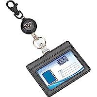 IDカードホルダー リール式 横 Wisdompro PU革 両面ポケット 社員証・名札・定期入れ・パスケース 伸縮タイ…