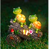 WOGOON Garden Turtle Figurines Outdoor Decorations, Solar Powered Sweet Frog Face Turtles Resin Statue with 4 LED Lights, Gar