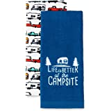 Camco Life is Better at The Campsite RV Dish Towel Set - Perfect for Drying Hands and Dishes - Includes a Set of (2) Towels -