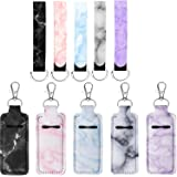 10 Pack Chapstick Holder Keychain Marble Lipstick Holder Keyring Lip Balm Holster and Key Chain Lanyard Wristlet for Chapstic