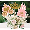 PARTY TARTY-Little Princess Crown -Pink and Gold Princess Centerpiece sticks for Girl Baby Shower or Birthday Party Decor-Tab