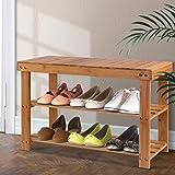 Artiss 10 Pairs Shoe Rack Bench, Bamboo Shoe Storage Organiser