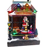Top Treasures Snow Village Lighted Resin Christmas Shop with Moving Santa   Lighted Christmas Village is a Great Perfect Addi