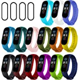 Ferilinso 15 Pack Straps Bracelet for Xiaomi Mi Band 5 + 4 Pack Flexible Film Screen Protector, Silicone Wristband Replacemen