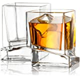 JoyJolt Carre Square Scotch Glasses, Old Fashioned Whiskey Glasses 10-Ounce, Ultra Clear Whiskey Glass for Bourbon and Liquor