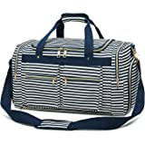 Weekender Overnight Duffel Bag Shoe Pocket for Women Men Weekend Travel Tote Carry On Bag, Stripe Blue White 0.6cm (Multicolo