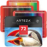 ARTEZA Professional Watercolor Pencils, Set of 72, Multi Colored Art Drawing Pencils in Bright Assorted Shades, Ideal for Col