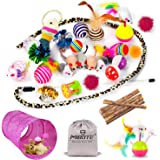 MIBOTE Cat Toys Variety Pack for Kitten Cat Tunnel Catnip Fish Interactive Feather Teaser Wand Toy Fluffy Mouse Crinkle Balls