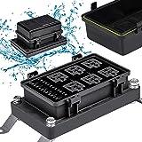 12V Auto Waterproof Fuse Relay Box Block [6 Bosch Style Relay Holder] [6 ATC/ATO Fuse Holder] Universal Relay Block Box for 1