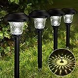Balhvit Glass Solar Lights Outdoor, 8 Pack Super Bright Solar Pathway Lights, Up to 12 Hrs Long Last Auto On/Off Garden Light