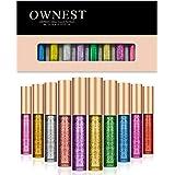 Ownest 10 Colours Liquid Glitter Eyeliner,Metallic Shimmer Glitter Eyeshadow, Long Lasting Waterproof Shimmer Sparkling Eyeli