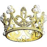 【morningplace】 王冠 ティアラ ヘア アクセサリー 結婚式 誕生日 プレゼント に (ゴールド)