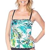 Maxine Of Hollywood Womens MM8PA69 Palm Beach Ruffled Tankini Swimsuit Top Tankini Top