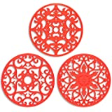 ME.FAN 3 Set Silicone Multi-Use Intricately Carved Trivet Mat - Insulated Flexible Durable Non Slip Coasters (Red)