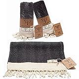 Smyrna Original Turkish Hand Towels Herringbone Series Set of 2 | 100% Cotton, 16 x 40 Inches | Decorative Bathroom Peshtemal