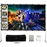 Projector Screen with Stand,120 Inch (16:9) HD 4K Outdoor Indoor Portable Projection Screen Fast Folding Movie Screen with St