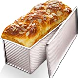CHEFMADE Loaf Pan with Lid,Commercial Pullman Bread Pan 2.2Lb Dough Capacity,Non-Stick Bakeware Carbon Steel Bread Toast Mold
