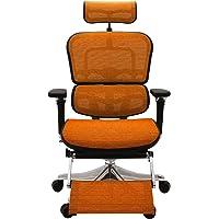エルゴヒューマン プロ オフィスチェア オレンジ オットマン内蔵型 ヘッドレスト付き 3Dファブリックメッシュ ergo…