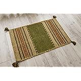 サヤンサヤン 手織り 幾何学 アジアン 玄関マット 屋内 室内 インドキリム 50x80 グリーン