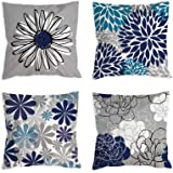 COLORPAPA Blue Pillow Covers 18x18 Set of 4 Grey Decorative Throw Pillow Cover for Couch Modern Daisy Pillows Case for Living