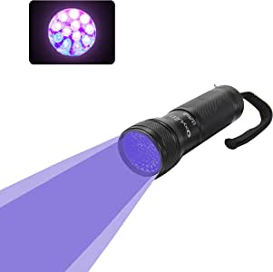 Esky 12 LED 395 nm UV紫外線ブラックライト懐中電灯---スポットスコーピオンズ、ペットの尿、偽札、ベッドのバグ、鉱物、リークなどの検査用[ブラック]