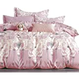 Essina Cotton Queen Quilt Cover Duvet Cover Doona Cover Set 3pc Valencia Collection 620 Thread Count, Pillow Sham, Sugar Rose