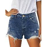 Vetinee Women's Summer Mid Rise Frayed Cutoff Hem Destroyed Jeans Denim Shorts