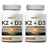 Twinbest Vitamin D3 Plus K2, 5000IU, Twin Pack, 240 Softgels, Premium Vitamin D3K2 Supplement, Promote Immune System Function