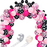 117 Mouse Balloon Garland Arch Kit Black Red White Gold/Rose Red Pink Balloon Garland Arch and Balloon Strip for Mouse Theme
