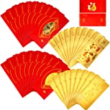 72 Pieces 2021 Chinese Zodiac OX New Year Gold Foil Note with Hong Bao Red Money Envelopes OX Lucky Money Packets for New Yea