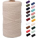 NOANTA Natural Macrame Cord 2mm x 220yards, Colored Macrame Rope, 3 Strand Twisted Cotton Rope Macrame Yarn, Colorful Cotton