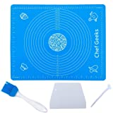 Chef Geeks Silicone Baking Mat for Rolling Dough (60cmx40cm) Pastry Mat with Measurements Extra Thick Non Stick Fondant Mat,
