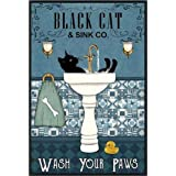 Black Cat ,Wash Your Paws Retro Metal Tin Sign Vintage Aluminum Sign for Home Coffee Wall Decor 8x12 Inch