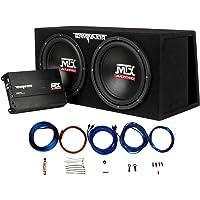 MTX Audio TNP212DV デュアル12インチサブウーファー通気エンクロージャー アンプと8ゲージアンプキット付き
