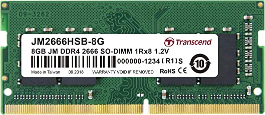 Transcend ノートPC用メモリ PC4-21300 (DDR4-2666) 8GB 288pin SO-DIMM 1.2V 1Rx8 (1024Mx8) CL19 JM2666HSB-8G