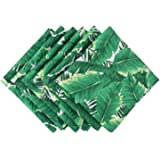 DII 100% Polyester, Spill Proof, Machine Washable, Outdoor Use 20x20 Napkin, Set of 6, Banana Leaf